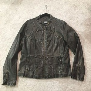 Jackets & Blazers - Distressed silver carbon leather moto jacket